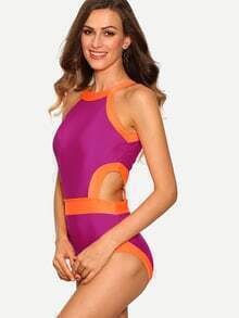 Contrast Trim Cutout One-Piece Swimwear - Purple