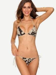 Halter Neck Printed Triangle Bikini Set - Grey