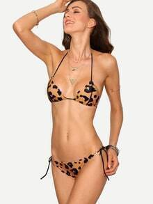 Leopard Print Triangle Bikini Set - Khaki