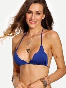 Halter Neck Scalloped Bikini Top - Blue