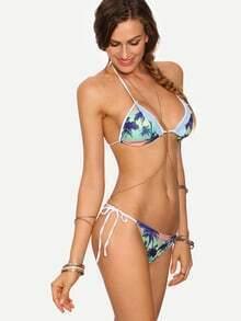 Multicolor Lace Trimmed Coconut Tree Print Bikini Set
