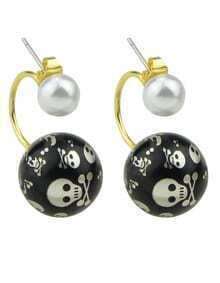 White Pearl Stud Double Ball Earrings