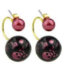 Winered Pearl Stud Double Ball Earrings