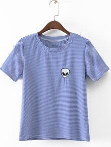 Blue Short Sleeve Alien Embroidery Striped T-Shirt