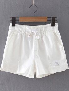 White Pockets Ripped Hole Elastic Tie-Waist Shorts