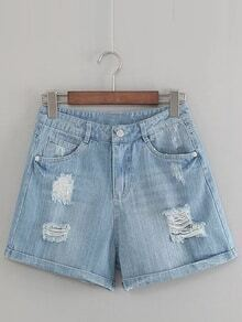 Blue Pockets Roll Cuff Ripped Hole Denim Shorts