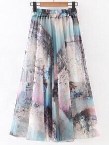 Multicolor Elastic Waist Castle Print Chiffon Flare Skirt