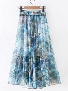 Blue Elastic Waist Flower Print Chiffon Flare Skirt