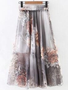 Multicolor Elastic Waist Flower Print Chiffon Flare Skirt