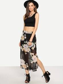 Florals Chiffon Split Side Skirt
