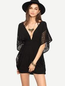 Deep V Neck Bat Sleeve Open Back Dress