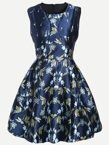 Navy Sleeveless Florals Flare Dress