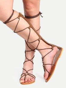 Brown Open Toe Lace-up Gladiator Sandals