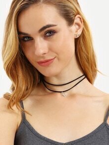 Layered Clover Pendant Choker Necklace