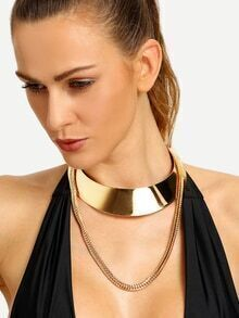 Gold Multilayer Metal Choker Necklace