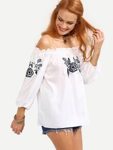 Off-The-Shoulder Flower Embroidered Blouse - White