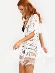 Fringe Hollow Out Cover-Up Lace Blouse - White