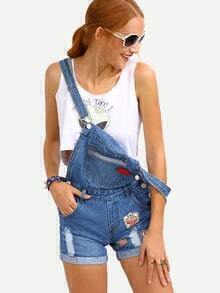 Embroidery Patch Rolled Hem Overall Blue Denim Shorts