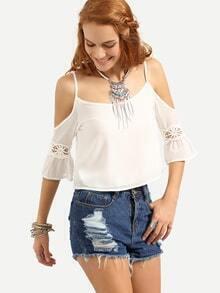 Lace Insert Cold Shoulder Crisscross Chiffon Top - White