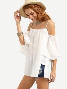 Cold Shoulder Pleated Loose-Fit Top - White