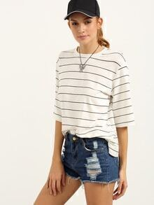 Striped Loose-Fit T-shirt - White