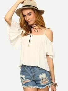 Ruffled Cold Shoulder Top - White
