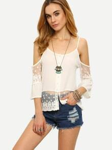 Cold Shoulder Buttoned Front Lace Trimmed Top - White