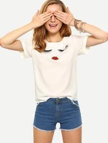 T-shirt imprimé lèvres et cils - blanc