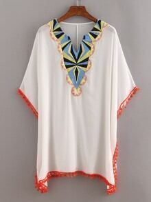 Pom Pom Trimmed Embroidered Poncho Dress - White