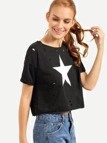 Ripped Back Star Print Eyelet T-shirt - Black