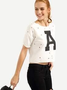 Ripped Back Letter Print Eyelet T-shirt - White