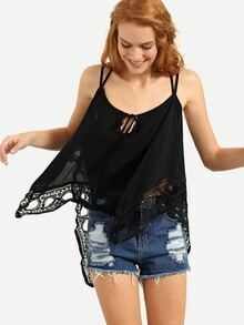 Strappy Lace Trimmed Asymmetric Cami Top - Black