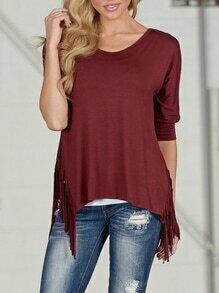 Burgundy Half Sleeve Asymmetric Fringe T-shirt