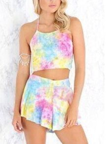 Colorful Halter Knotted Strapless Top With Shorts