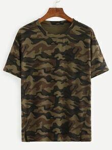 T-shirt motif camouflage - vert