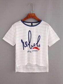 Letter Print Eyelet High-Low T-shirt - White