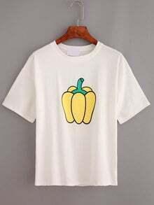 Pepper Print Drop Shoulder T-shirt - White