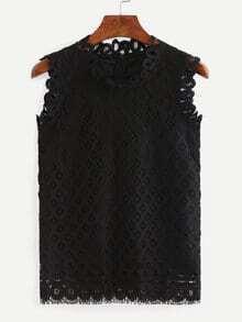 Zip Back Lace Tank Top - Black
