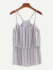 Layered Navy Vertical Striped Chiffon Cami Top