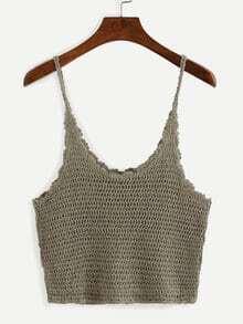 Crop Crochet Cami Top - Khaki