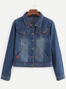 Buttoned Front Stone Wash Blue Denim Outerwear