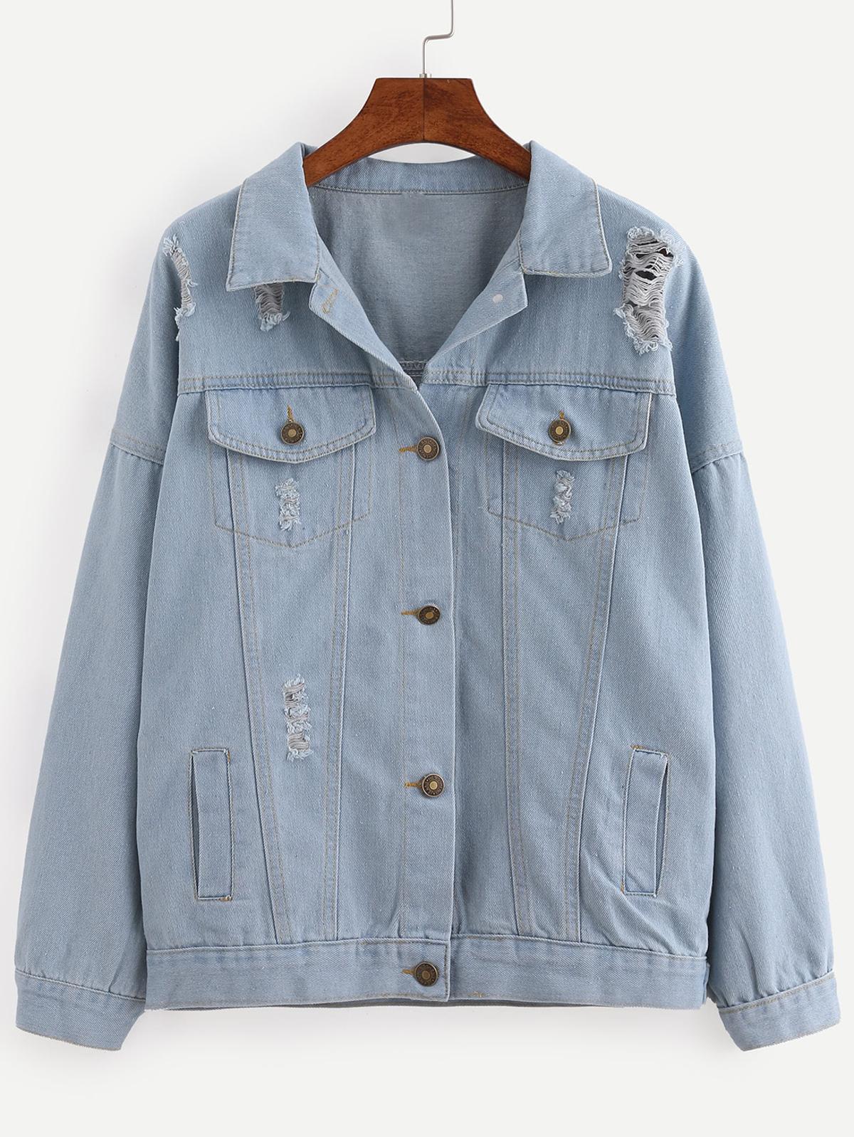 紐扣 正面 撕裂 淺藍色  牛仔布 外出服