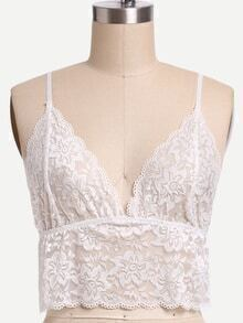 Crop Sheer Lace Cami Top - White