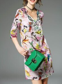 Multicolor V Neck Birds Print Pockets Dress
