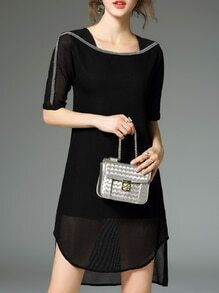 Black Boat Neck Beading High Low Dress