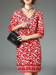 Red V Neck Beading Print Dress