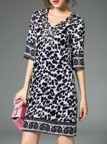 Navy V Neck Beading Print Dress