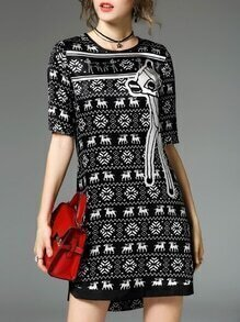 Black Deer Print Shift Dress