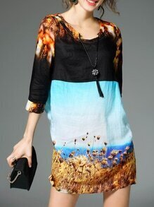 Multicolor Tie Neck Print Shift Dress