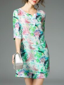 Multicolor Fish Print Shift Dress